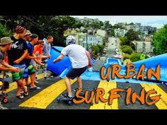 Got a steep street? Turn it into a giant water slide ^AH #placemaking. Urban Surfing down streets of San Francisco! - Bear Naked!