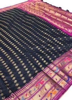 Sarees Online | Buy Sarees Online |@ ibuyfromindia.com Kora Silk Sarees, Kanjivaram Sarees, Navy Blue Saree, South Indian Sarees, Ethnic Sarees, Festival Wear, Festival Wedding, Work Sarees, Fancy Sarees