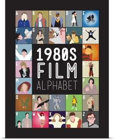 So COOL! 1980's Film Alphabet, Minimalist Art Poster. How many can you name?