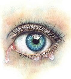 Hyperrealistic eye watercolour