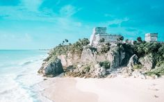 ocean water blue matches sky sometimes!  Ruins - 3 Days in Tulum