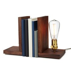 Walnut Bookend Lamp, $119, by Shelli Worley