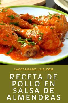 Pollo en salsa de almendras es una receta de pollo con la que podrás preparar un plato suculento de pollo muy jugoso con salsa de almendras #pollo #lacocinadelila