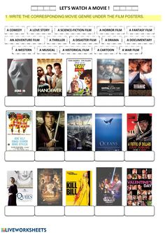 Let's watch a movie: movie genres - Interactive worksheet Genre Activities, English Activities, Interactive Activities, English Reading, English Study, Learn English, Teaching Vocabulary, English Vocabulary, Worksheets