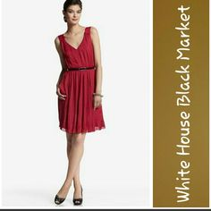 Beautiful Dress! Ultra light and luxe, this silky crimson tank dress is nothing short of breathtaking. Double-V design features a pleated bib and a dramatic, accordion-pleat skirt with secret pockets. 100% Polyester.  Dry clean.  Contour fit.  Hidden side zip with hook-and-eye closure.  Thread loops at waist, belt is missing.  Lightly lined.  Excellent condition.  No stains or tears.  From smoke free home. White House Black Market Dresses