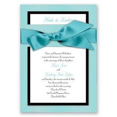 Treasured Jewels Border - Blue Topaz Invitation
