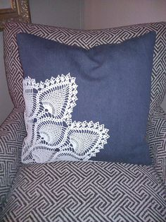 "Denim and Doily 20"" Pillow Cover. $39.00, via Etsy."