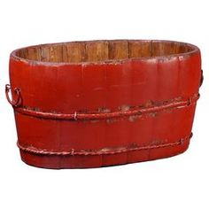 """Weathered elm bucket with side handles.  Product: BucketConstruction Material: Elm wood and metalColor: RedFeatures:  Adds a charming touch of style to your home decor Perfect for stowing out-the-door essentials  Dimensions: 7.5"""" H x 15.5"""" W x 10"""" D"""