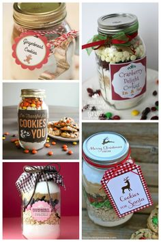 20 Yummy Cookies In A Jar (mason jar food gifts) Christmas Jar Gifts, Creative Christmas Gifts, Christmas Recipes, Homemade Dry Mixes, Homemade Gifts, Homemade Cookies, Diy Gifts, Mason Jar Cookies, Cookie Jars