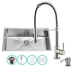 "Vigo VG15078 32"" Single Basin Undermount Kitchen Sink with VG02001 Stainless Ste Stainless Steel Fixture Kitchen Sink Combination"
