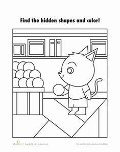 Kindergarten Games Shapes Worksheets: Hidden Shapes Picture