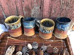 """Clay'nWoodCrafts on Instagram: """"Coffee anyone? A nice cup of coffee is sure more enjoyable poured in a cozy, hand made mug.  @pottery.justmemakingstuff…"""" Fun Cup, Coffee Cups, Basket, Cozy, Pottery, Ceramics, Mugs, Nice, Tableware"""