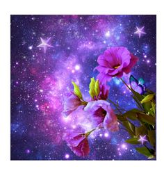 """""""Space flowers"""" by elaine136 ❤ liked on Polyvore featuring art"""