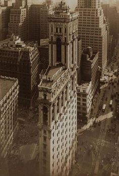 Aerial view on the Times Building. NYC, 1930s