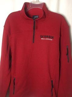 524 New Georgia Bulldogs L Waffle Thermal Zip Pullover Sweatshirt Red NCAA Top #CampusHeritage #GeorgiaBulldogs