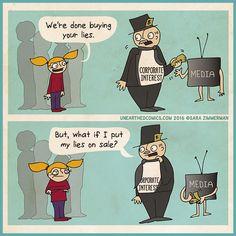political comics about no longer buying corporate lies