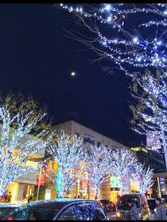 #illuminations and #moon from #RoppongiHills #Roppongi #Tokyo #Japan 六本木ヒルズのイルミネーションと月が美しい✨ #Christmas