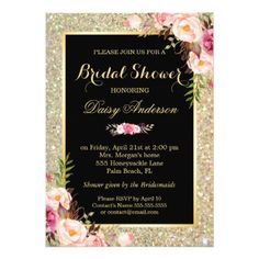 Wedding Bridal Shower Shiny Gold Sparkles Floral Card - click to get yours right now!