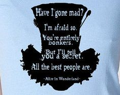 Mad Hatter Ladies Tee - black ink alice in wonderland t-shirt - You choose size, style and color