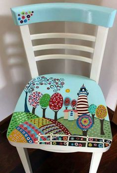 Hand painted furniture designs diy 51 ideas for 2019 Hand Painted Chairs, Whimsical Painted Furniture, Painted Stools, Hand Painted Furniture, Distressed Furniture, Recycled Furniture, Painted Tables, Furniture Logo, Diy Furniture