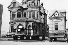 "The Lost Victorian Mansions of Downtown LA. ""The Castle"" and ""The Salt Box"" being moved by preservationist in 1960."