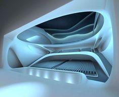 interior of performing arts centre, saadiyat island, united arab emirates, architect is zaha hadid