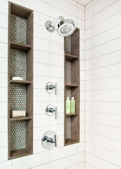 Built-in Shower Storage Columns with Decorative Tile #MasterBedrooms