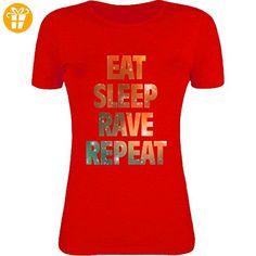 Eat sleep rave repeat hipster dance graphic Womens T-Shirt XX-Large (*Partner-Link)