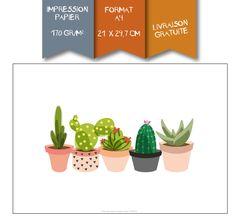 Affiche Imprimée - Cactus en pot : Décorations murales par affiche-rgb4you #affiche #cactus #succulente