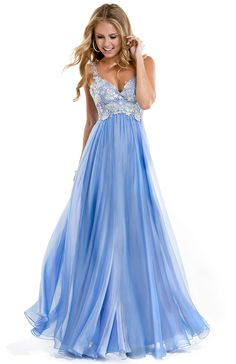 Love this new arrival from Flirt - chiffon dress with lace bodice in French Blue #jbbridals #prom2014