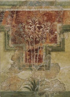 "Lilly fresco. 1500 BCE. Found in ""House of the Lilies"" at Amniso, Crete. Currently in the Heraklion Archaeological Museum."