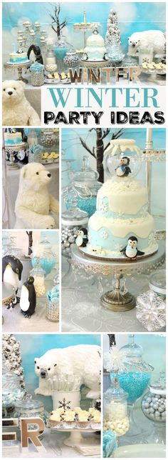 Lots of wonderful woodland creatures appear at this winter party! See more party ideas at CatchMyParty.com!