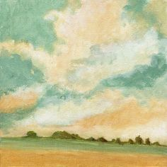 Landscape Painting Original Painting on Canvas Green Yellow Fields Clouds and Dramatic Sky Hills 8x8
