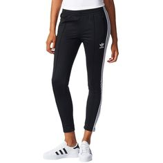 Adidas Superstar Track Pants ($70) ❤ liked on Polyvore featuring activewear, activewear pants, black, adidas, track pants, adidas activewear and adidas sportswear