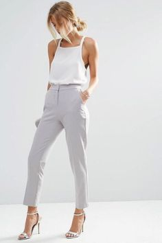 .grey tapered trousers, white halter top