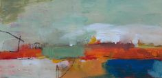 abstract painting landscape acrylic awesome day. $80.00, via Etsy.