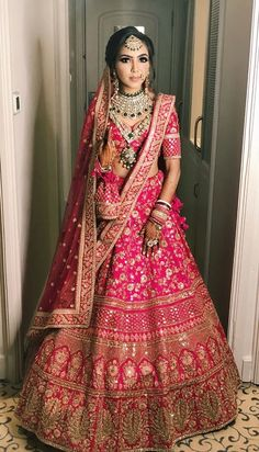 30 Exciting Indian Wedding Dresses That You'll Love is part of Pink bridal lehenga - Indian wedding dresses are very beautiful Usual indian bridal dresses made of chiffon or silk and adorned with elaborate embroidery, red or gold color Pink Bridal Lehenga, Indian Wedding Lehenga, Indian Wedding Bride, Designer Bridal Lehenga, Indian Lehenga, Sabyasachi Lehengas, Pink Lehenga, Indian Wedding Hair, Indian Muslim Bride