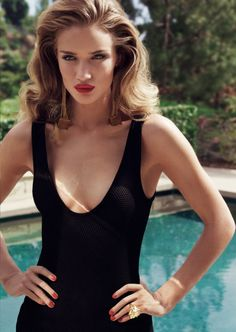 rosie huntington whiteley, fashion, rosi huntingtonwhiteley, red nails, red lips, timeless style, femme fatale, little black dresses, hair