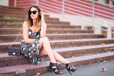 Tropical dress, statement heels