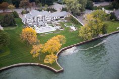 Detroit by Air - NYTimes.com: A mansion sits on Lake St. Clair in the town of Grosse Pointe Farms, around 10 miles from downtown Detroit.