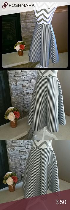 **Pinstripe Highwaist Skirt** Adorable. New, never worn. Length is 25.75 from waist to hem. Size chart will be added shortly. Skirts
