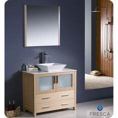 The Fresca 36-inch Torino is a sleek free-standing vanity with plenty of storage space. The frosted glass panels of the doors balance out the sleek and modern lines of Torino, making it fit perfectly in either 'Town' or 'Country' decor.