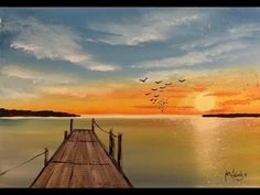 how to paint a sunset jetty scene Music Channel, Christening Gowns, Art For Sale, Scene, Sunset, Youtube, Painting, Outdoor, Ink