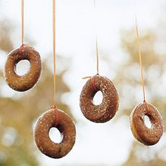 Tie a doughnut on a string and you have a popular game that is appropriate for all ages of kids.
