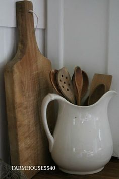 FARMHOUSE 5540- classic farmhouse kitchen staples- ironstone pitcher, butcher block chopping board! Cooking Utensils, Kitchen Utensils, Kitchen Sink, Kitchen Pantry, Kitchen Gadgets, Cooking Tools, Kitchen Tools, Spoon Collection, White Pitchers