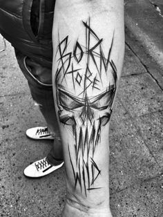 Born to be Ride, Awesome black and grey sketch tattoo style of Punisher Skull motive done by artist Inez Janiak Tattoo Tattoos Masculinas, Badass Tattoos, Skull Tattoos, Forearm Tattoos, Body Art Tattoos, Sleeve Tattoos, Tattoos For Guys, Cool Tattoos, Fashion Tattoos