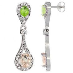 14K White Gold Natural Morganite and Peridot Oval Dangling Earrings White Sapphire and Diamond Accents, 1 3/8 inches long.