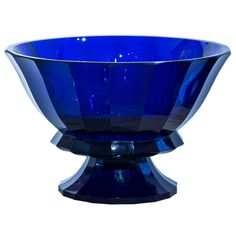 eching Large Josef Hoffmann Centerpiece Marked Wiener Werkstatte period Jugendstil, Austria, The glass is mouth blown and has a polished pontil. It is marked at the bottom with the WW eching Cobalt Glass, Cobalt Blue, Perfume Vintage, Blue Dishes, Modern Glass, Antique Glass, Glass Collection, Glass Design, Shades Of Blue