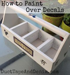 How to paint over decals. Chalk type paint on a thrift store find, tool caddy.  | DuctTapeAndDenim.com