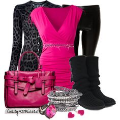 Loovvvvvve this bright pink and black leopard outfit. I would wear a healed boot, not the flat boots pictured